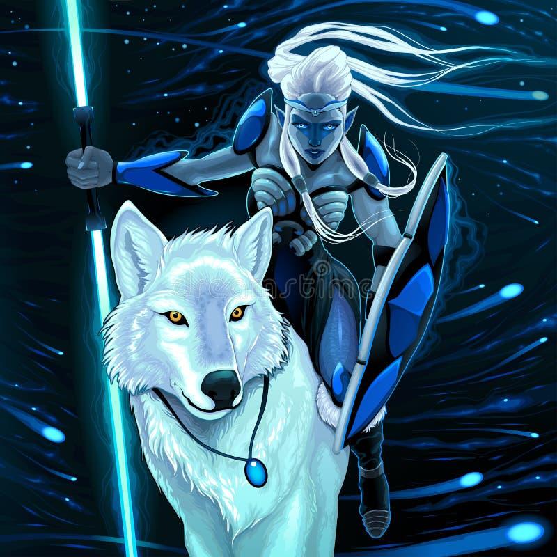 Эльф с белым волком бесплатная иллюстрация