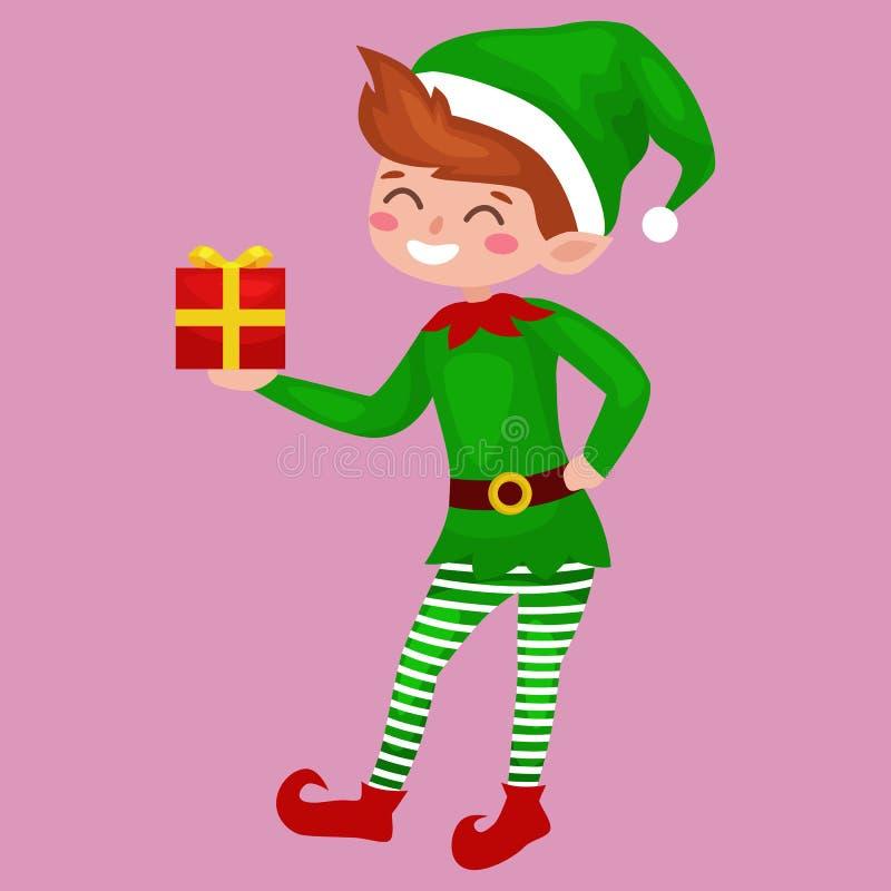 Эльф с подарками в коробке в зеленом костюме, ассистент Санта Клауса, хелпер рождества мальчика держа для счастливая новой бесплатная иллюстрация