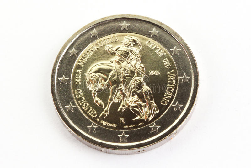 Юбилей 2016 монетки евро 2 коммеморативный, Святой престол, государство Ватикан стоковая фотография rf