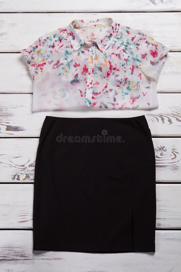 Юбка и рубашка с печатью стоковое изображение rf
