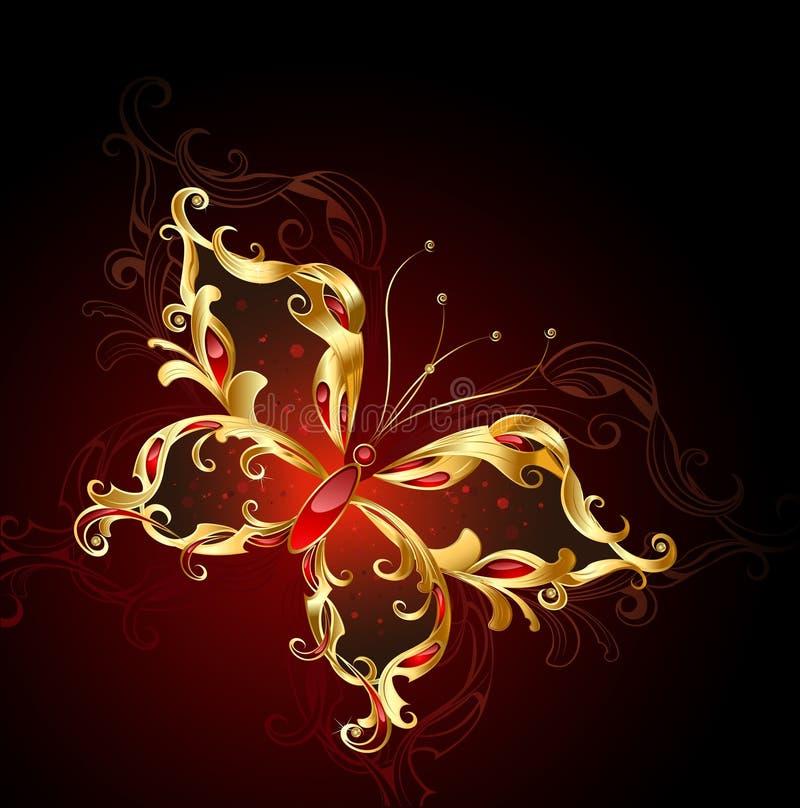 ювелирные изделия золота бабочки иллюстрация штока