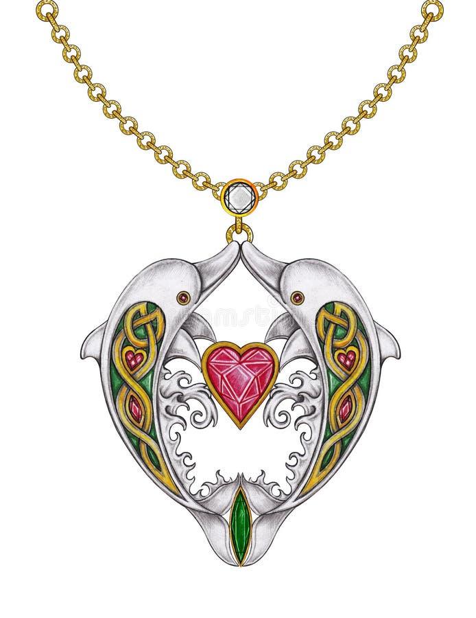 Ювелирные изделия ожерелья сердца дельфинов смешивания искусства кельтские бесплатная иллюстрация