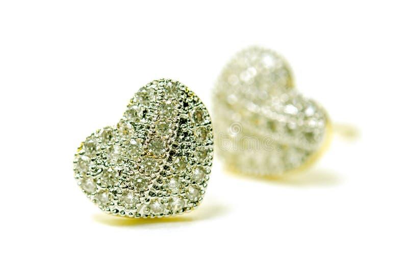 Ювелирные изделия серьги камеи золота привесные в форме сердца с диамантом i стоковое изображение