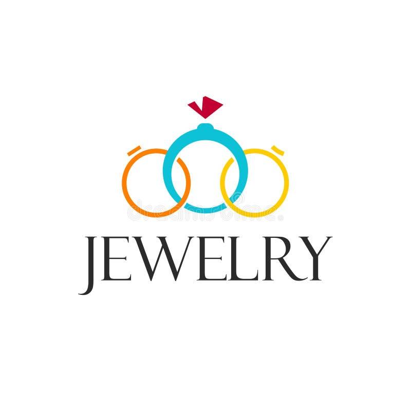 Ювелирные изделия звенят шаблон логотипа вектора на белой предпосылке стоковая фотография rf