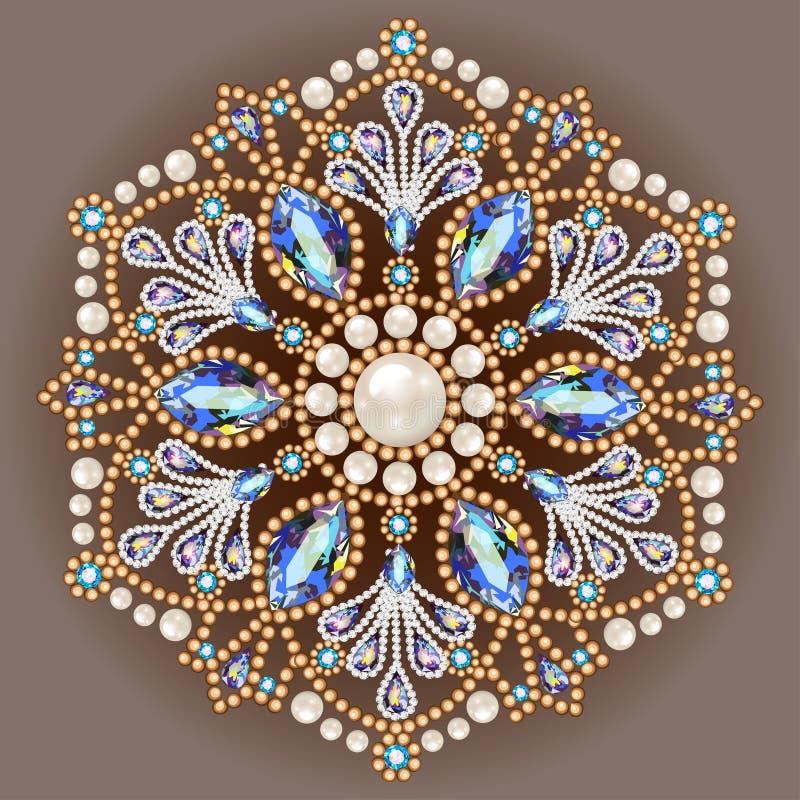 Ювелирные изделия фибулы, элемент дизайна Геометрическое винтажное ornam иллюстрация вектора