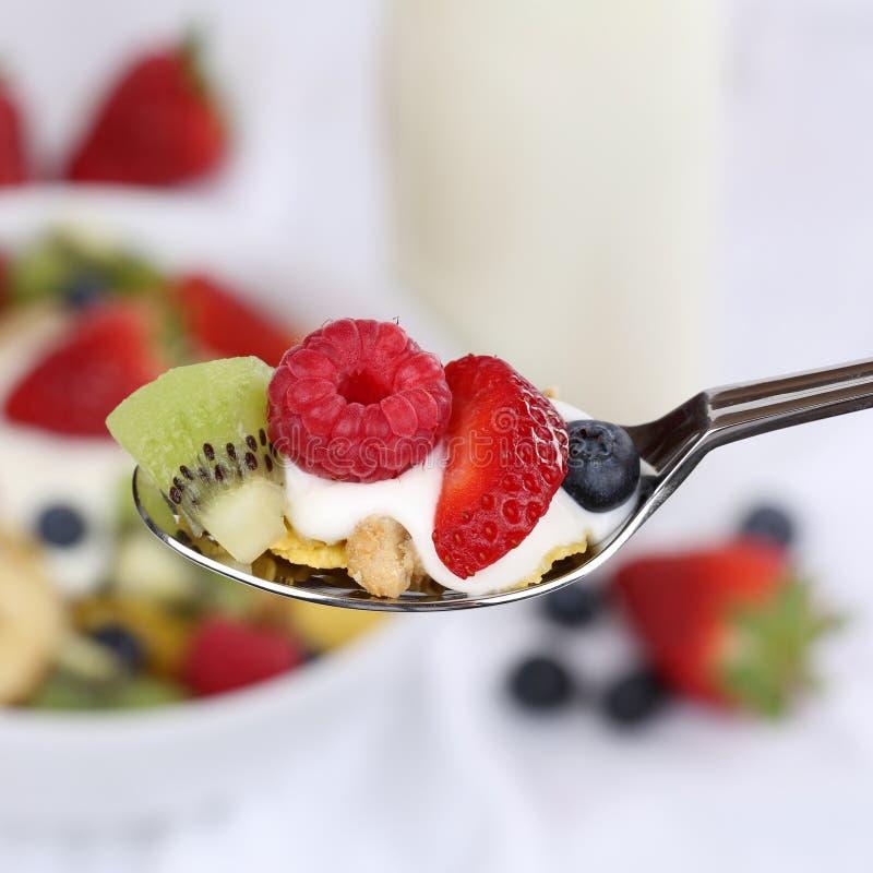 Югурт плодоовощ на ложке для завтрака стоковая фотография