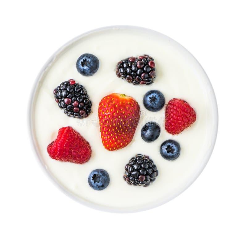 Югурт с плодоовощами ягоды стоковая фотография rf