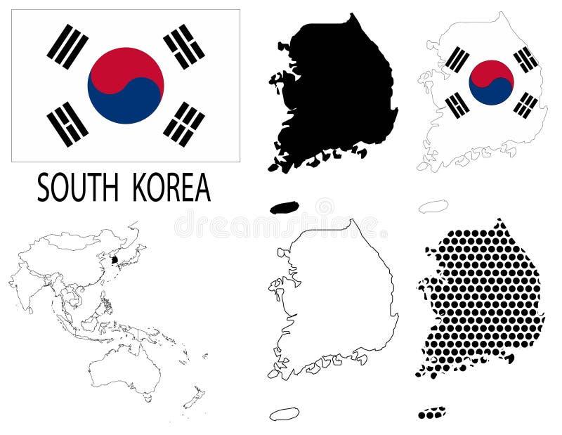 Южная Корея - вектор карты контурных карт, национального флага и Азии иллюстрация вектора