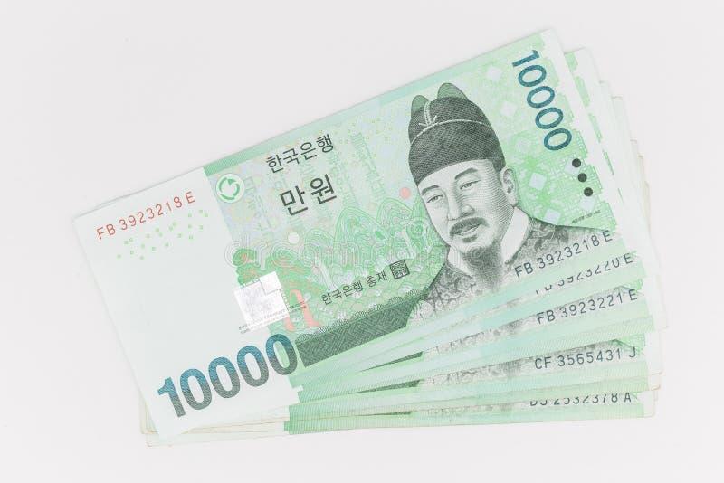 Южная Корея выиграла валюту в размере 10 000 вон, сэкономив деньги стоковые фотографии rf
