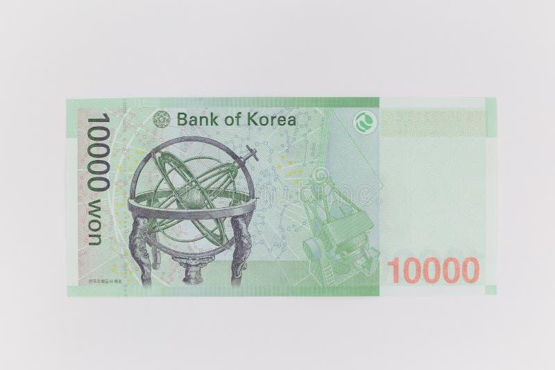 Южная Корея выиграла валюту в цене 10 000 вон, в обратную сторону стоковое фото
