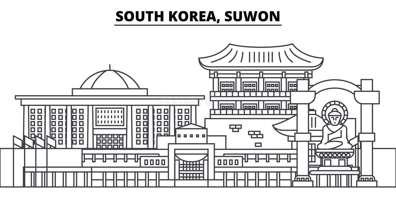 Южная Корея, линия иллюстрация Сувона вектора горизонта Южная Корея, городской пейзаж с известными ориентир ориентирами, город Су бесплатная иллюстрация