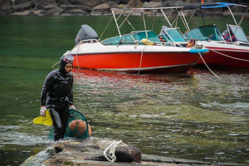 ЮЖНАЯ КОРЕЯ - 19-ОЕ МАЯ 2018: Традиционные Женщин-водолазы на острове Jeju, также вызванном как Haenyeo, собирая моллюска в стоковые фото