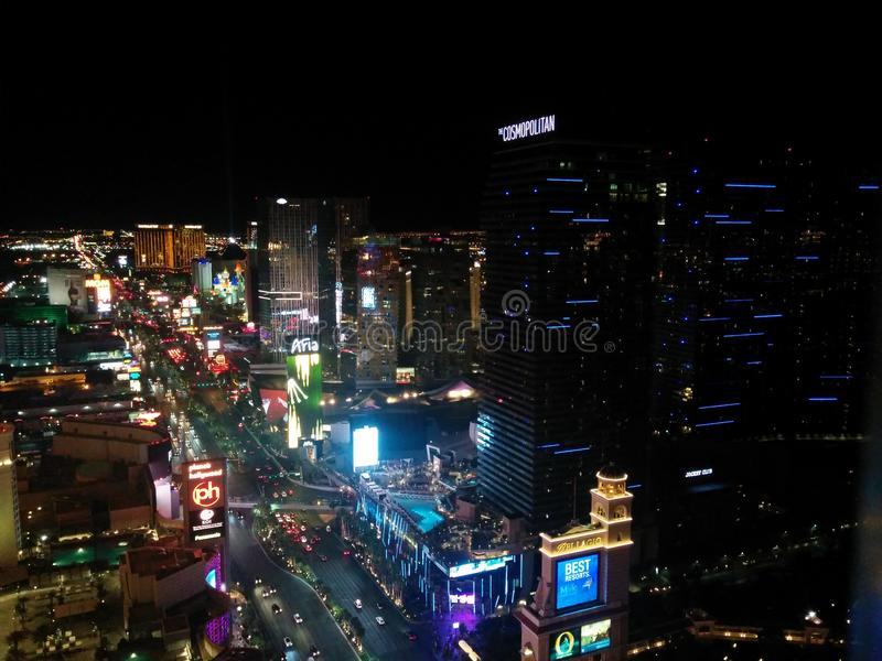 Южная прокладка Лас-Вегас, темный взгляд стоковое изображение rf