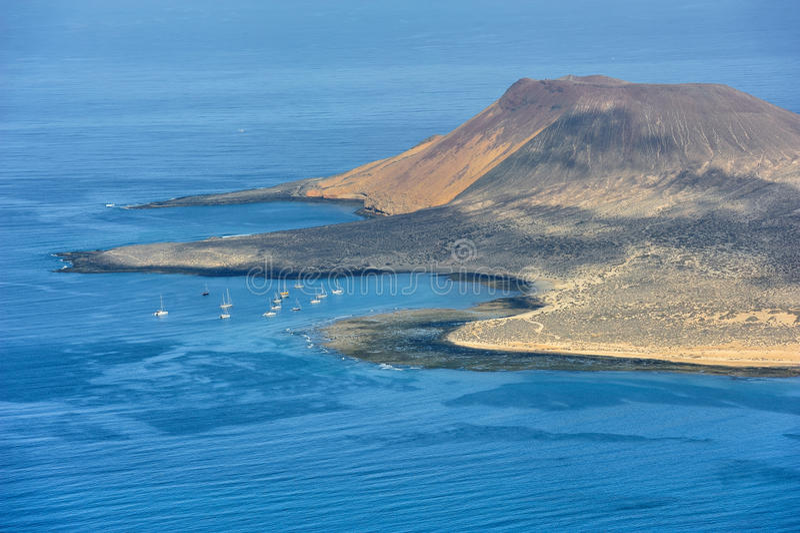 Южная часть острова Graciosa, Канарских островов, Испании стоковая фотография rf