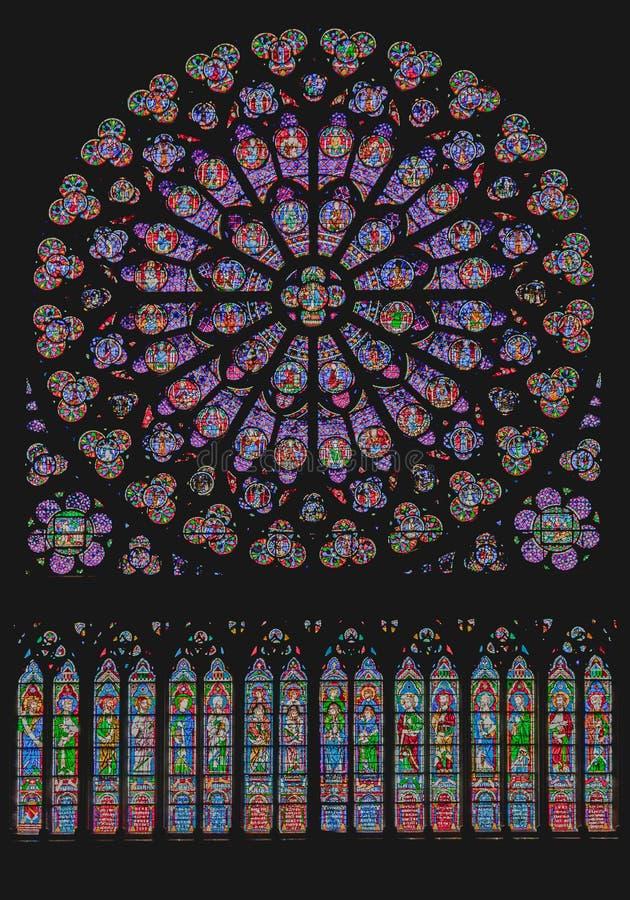 Южное розовое окно Нотр-Дам Париж стоковые фотографии rf