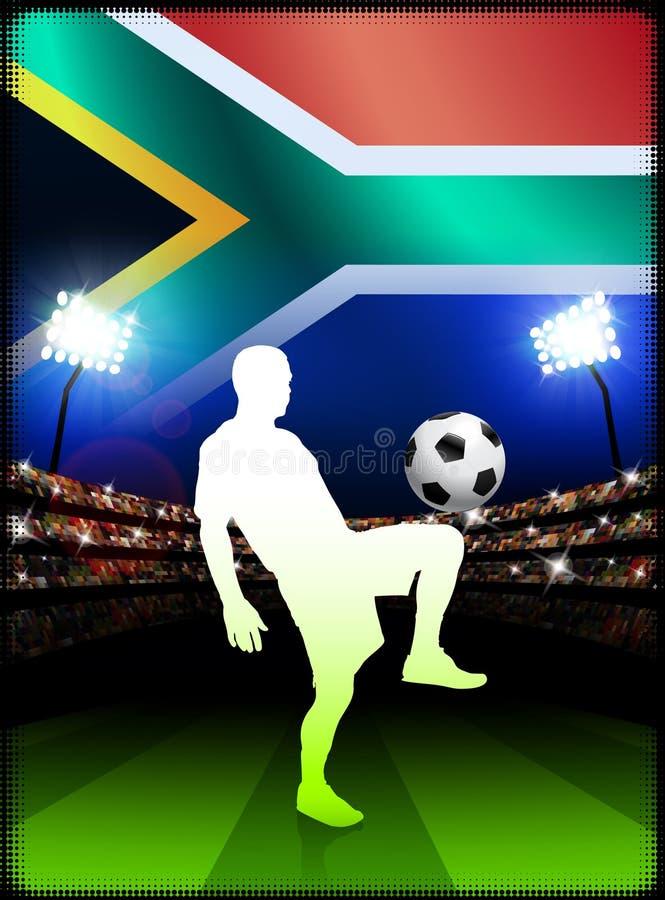 Южно-африканский футболист в спичке стадиона бесплатная иллюстрация