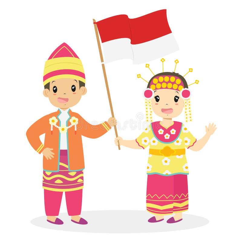 Южные дети Kalimantan держа индонезийский вектор шаржа флага иллюстрация штока