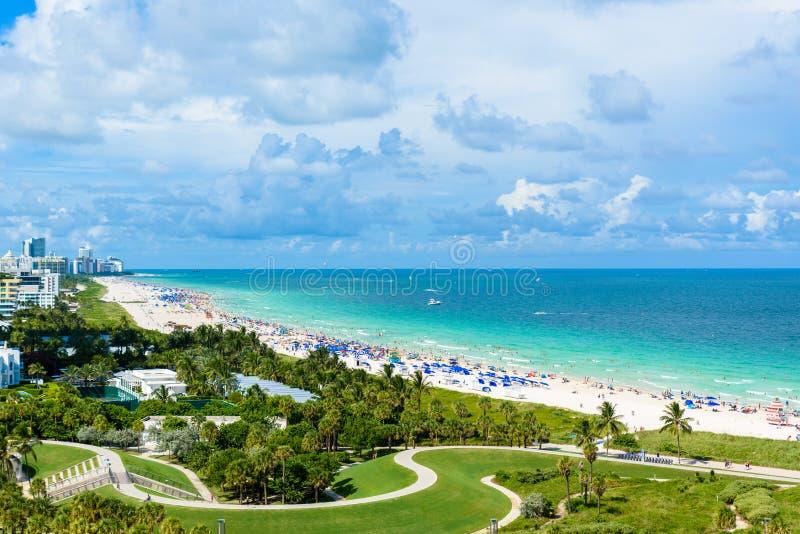 Южные парк и пристань Pointe на южном пляже, Miami Beach r Рай и тропическое побережье Флориды, США стоковое изображение