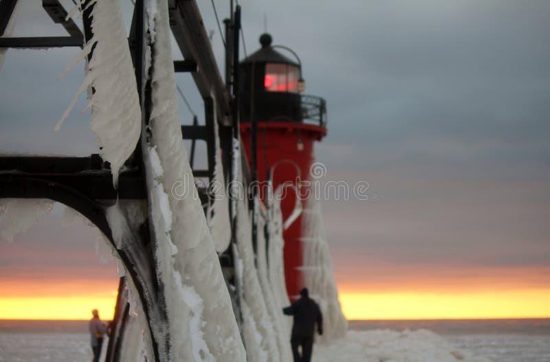 Южный маяк зимы Мичигана гавани стоковое фото