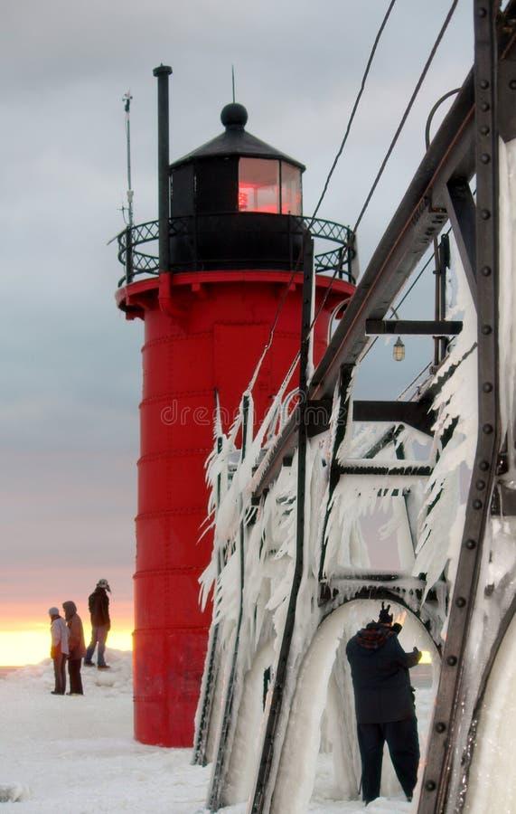 Южный маяк зимы Мичигана гавани стоковые фотографии rf