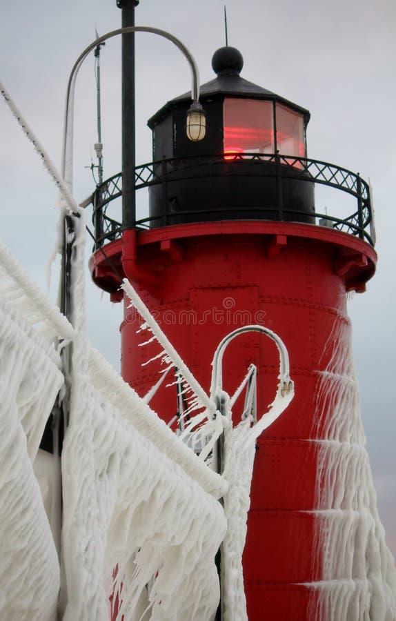 Южный маяк зимы Мичигана гавани стоковые изображения