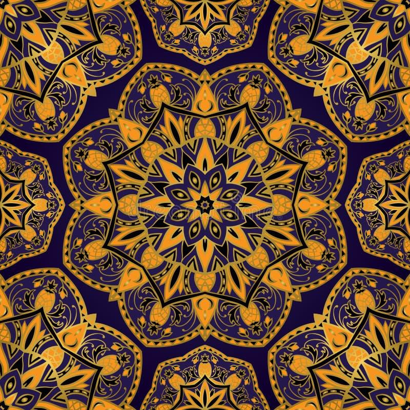 Южный орнамент с ананасом иллюстрация вектора