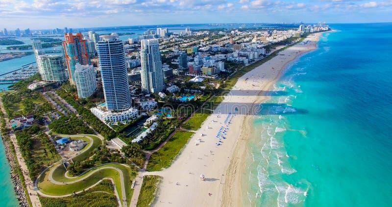 Южный пляж, Miami Beach Флорида вид с воздуха стоковое изображение rf