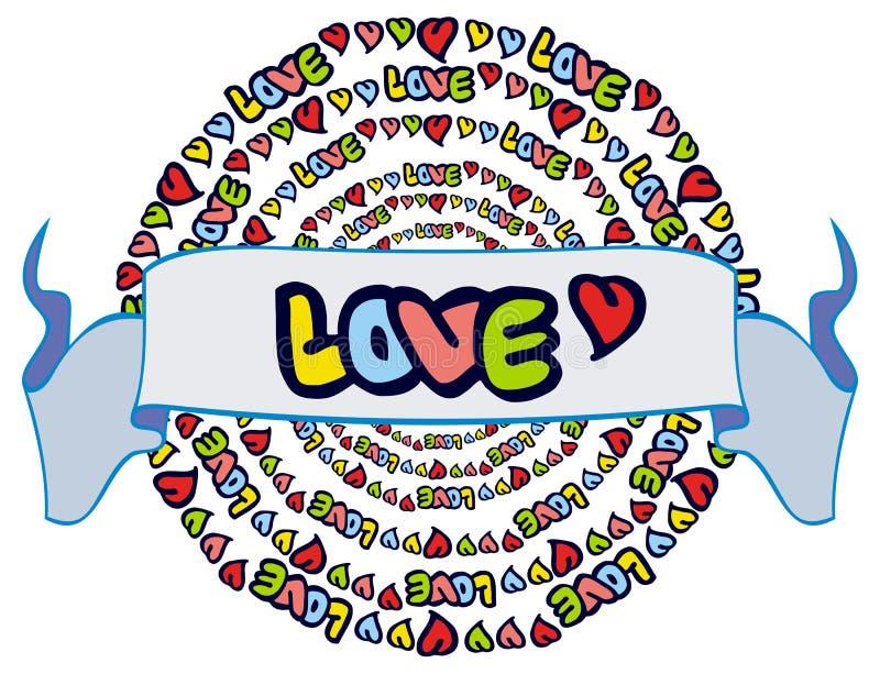 Юмористическая эмблема с словом & x22; love& x22; иллюстрация вектора