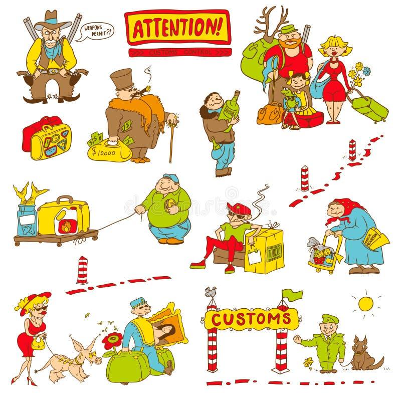 Юмористические характеры испытанные на таможнях бесплатная иллюстрация