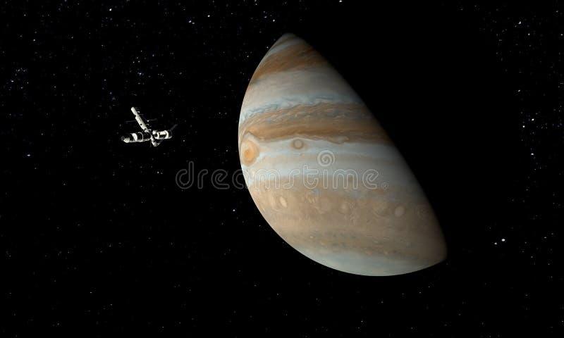 Юпитер и космический корабль Концепция астрономии и науки Тема космоса : иллюстрация вектора