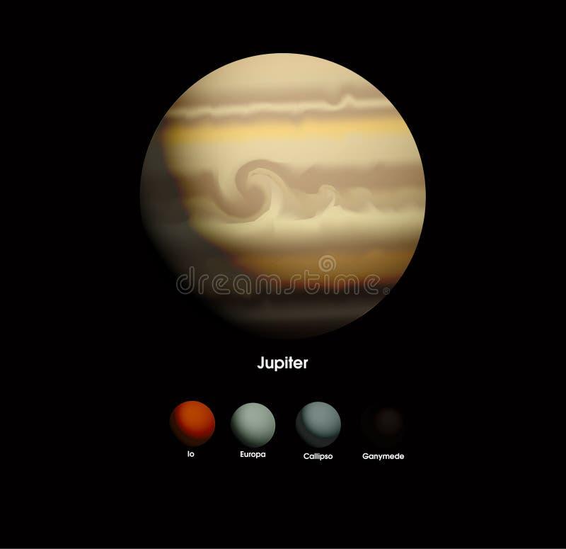 Юпитер и она лунатируют бесплатная иллюстрация
