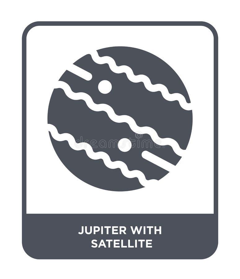 Юпитер со спутниковым значком в ультрамодном стиле дизайна Юпитер со спутниковым значком изолированным на белой предпосылке Юпите бесплатная иллюстрация