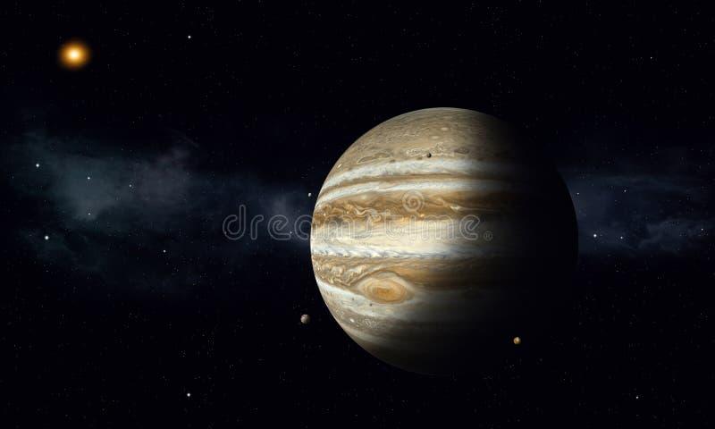 Юпитер с лунами иллюстрация штока