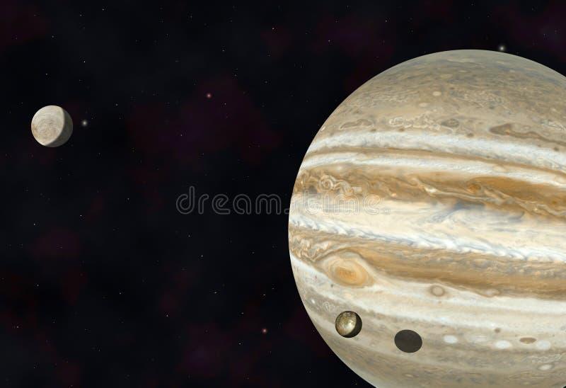 Юпитер, Io и Европа иллюстрация штока