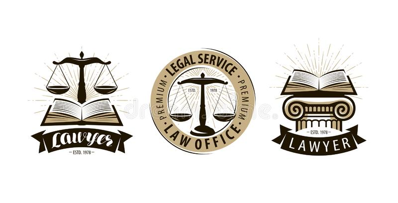 Юрист, логотип юридического офиса или ярлык Юридические службы, правосудие, судебный символ масштабов вектор иллюстрация штока