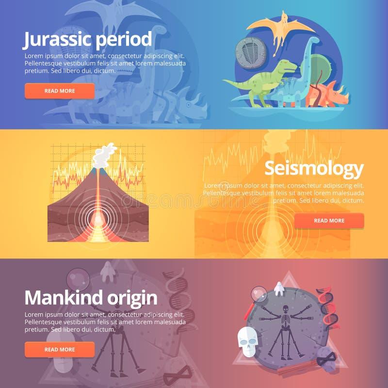 Юрский период Время динозавра Наука сейсмографии иллюстрация вектора