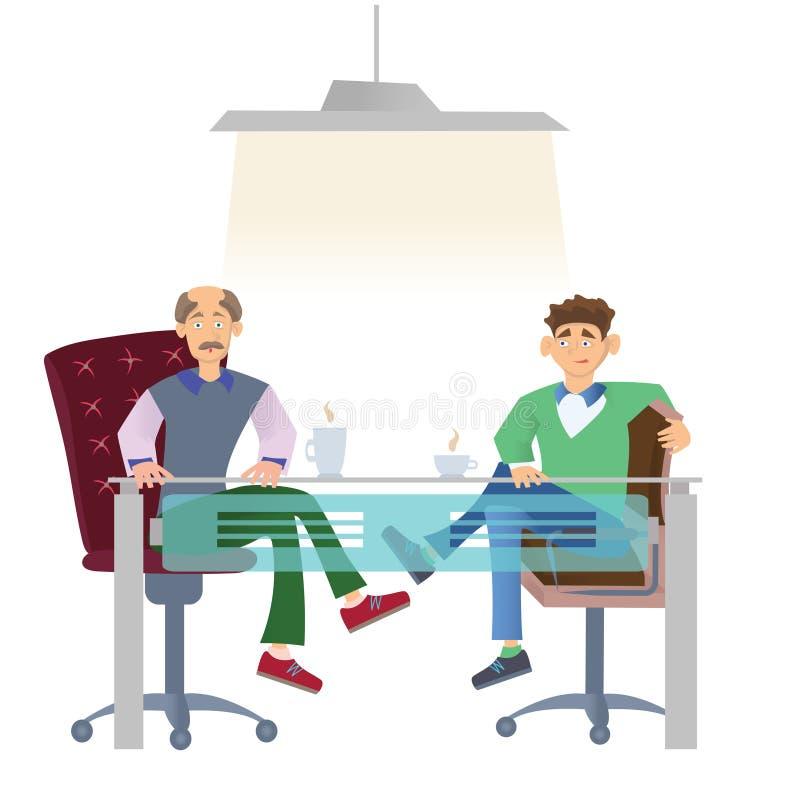 2 люд в вскользь одеждах сидя на столе офиса с чашкой кофе Собеседование для приема на работу или деловые встречи вектор иллюстрация штока