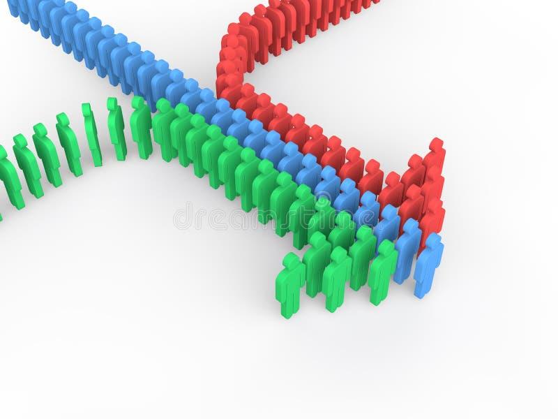 люди 3d аранжированные, что сформировать стрелку иллюстрация вектора
