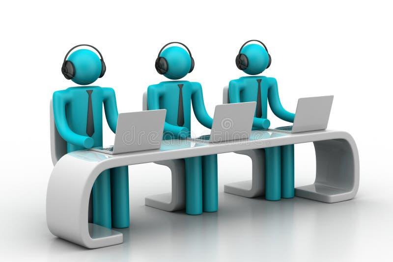 люди 3d в современном столе с компьтер-книжкой иллюстрация вектора