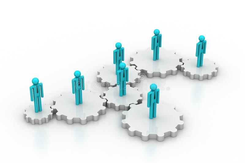 люди 3d в шестерне, концепции работы команды иллюстрация штока
