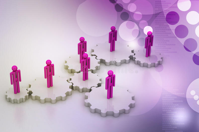 люди 3d в шестерне, концепции работы команды бесплатная иллюстрация