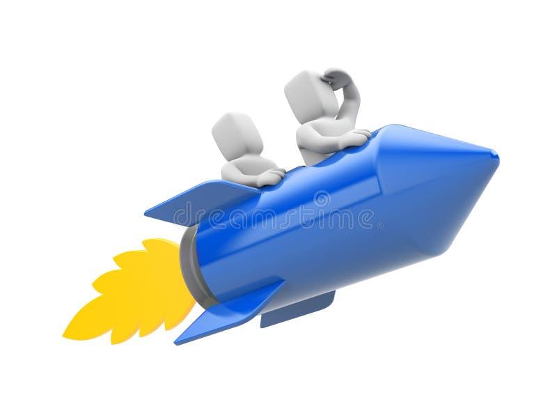 люди 3d летая на ракету иллюстрация вектора