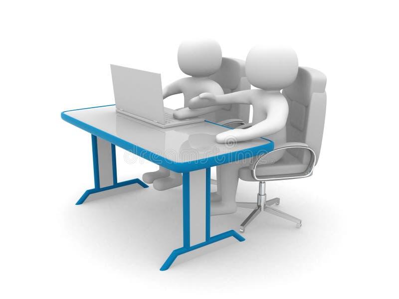 люди 3d и компьтер-книжка на офисе. Деловые партнеры иллюстрация вектора
