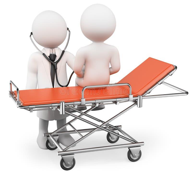 люди 3d спрашивают белизну Врачуйте слушать к сердцу с stethoscop бесплатная иллюстрация