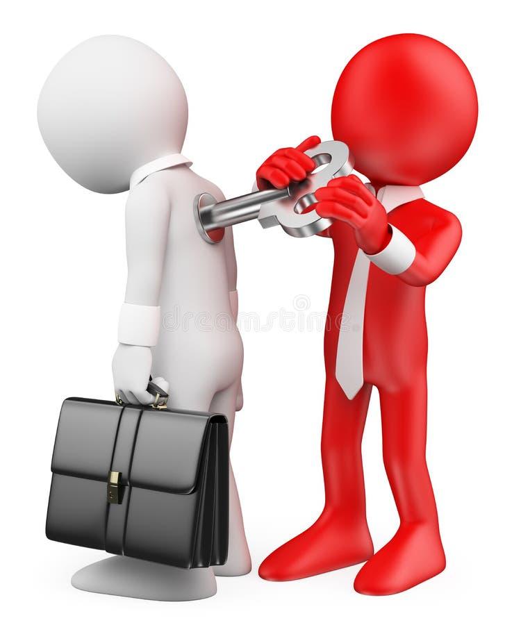люди 3d спрашивают белизну Человек обматывая вверх по работнику Метафора мотивировки бесплатная иллюстрация