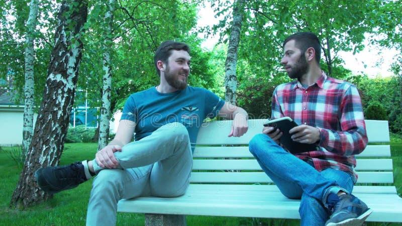 2 люд связывают на стенде в парке Встречать 2 друзей в природе сток-видео