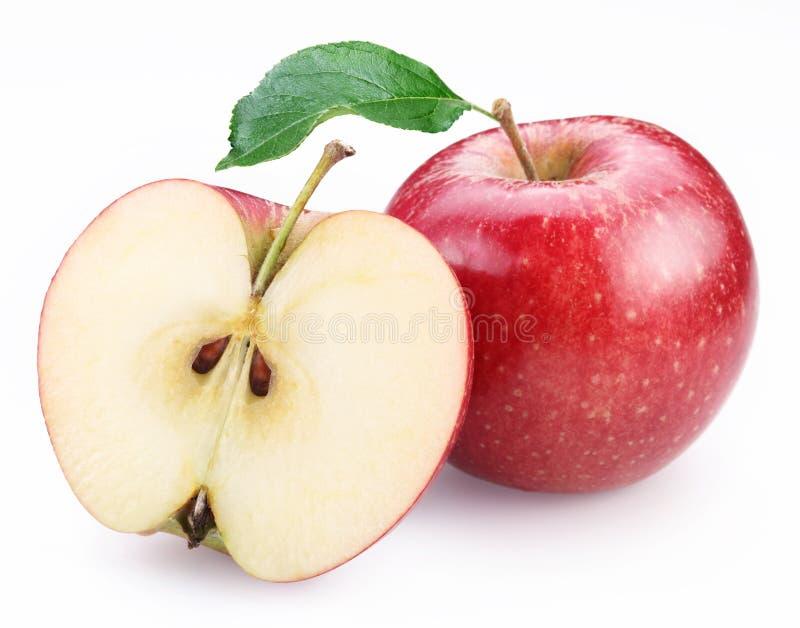 яблока красный цвет наполовину стоковое изображение
