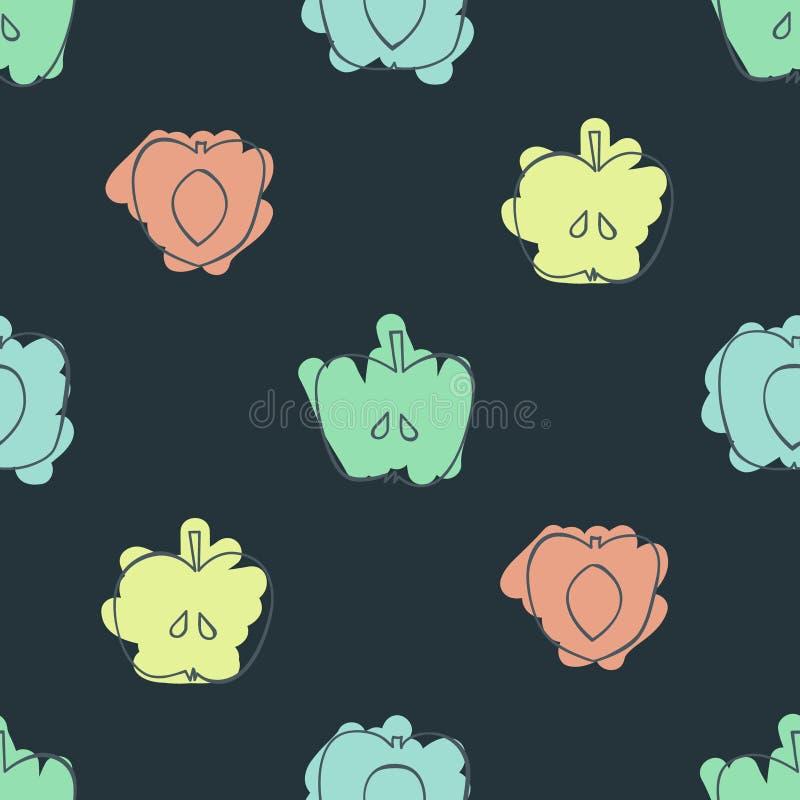 Яблоки, персики и абрикосы иллюстрация штока