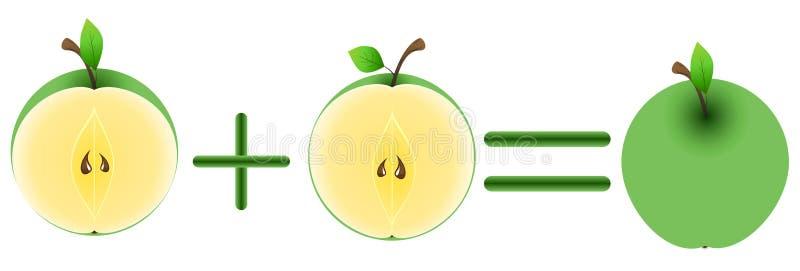 яблоки половинное одно бесплатная иллюстрация
