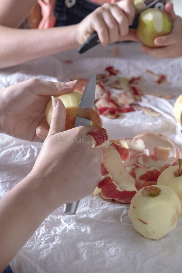 Яблоки шелушения для варить то свеже выбирают от сада стоковое фото rf